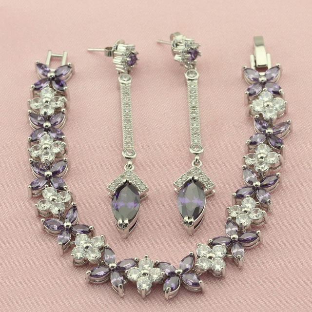 Purple Women S Earring Sets Silver Color Jewelry Pretty Semi Precious Stone Stud Earrings Bracelet For