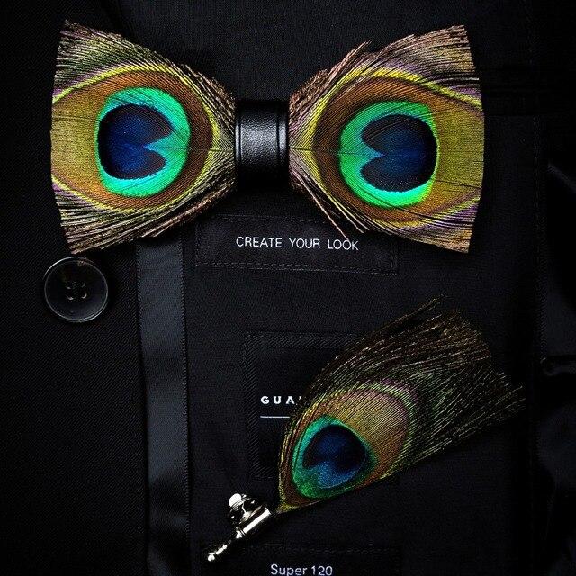 RBOCOTT Handgemaakte Veer Vlinderdas en Broche Set Voor Mannen Accessoires mannen Luxe Bowtie Breastpin Set met Doos Voor huwelijkscadeau