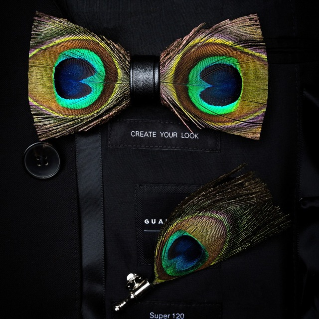 RBOCOTT Handmade Feather Bow Tie and Brooch Set For Men Accessories Mens Luxury Bowtie Breastpin Set with Box For Wedding Gift