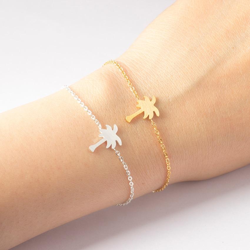 Rostfritt stål smycken guldfärg palm tree bileklik armband män tropiska kokosnöt armband & armband för kvinnor Pulseras Mujer
