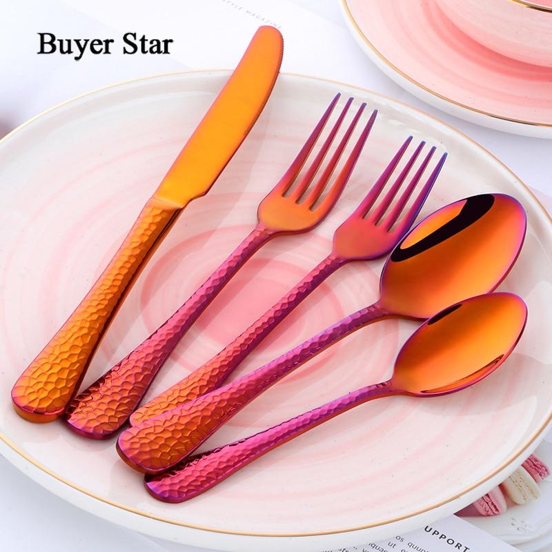 Buyer Star 5 Piece Dream Color Flatware Gold Black Dinner Tableware Silverware Dinner Fork Spoon Knife Cutlery Set Drop Shipping