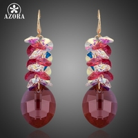AZORA Gorgeous Gold Color Big Water Drop Stellux Austrian Crystal Wedding Drop Earrings TE0085
