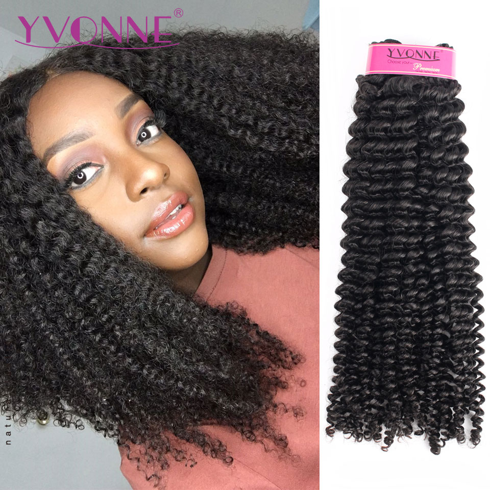 Yvonne kinky encaracolado virgem tecer cabelo brasileiro 4a 4b não transformados feixes de cabelo humano cor natural