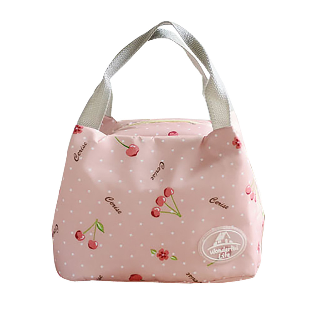 Functional Pattern Insulated Cold Canvas Stripe Picnic Carry Case Thermal Portable Lunch Bag For Women Kids #BL5