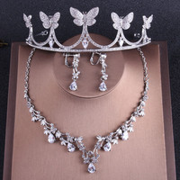 2018 Butterflies Bridal Jewelry Set Wedding Hair Accessories Tiaras Necklace Earrings Diamond Headbands Headpieces For Bride