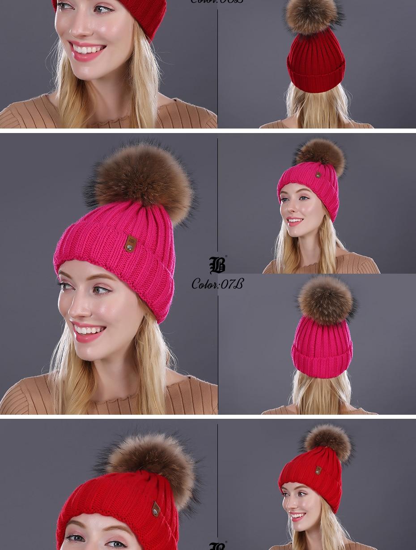 [FLB] Wholesale Real Mink Fur Pom Poms Knitted Hat Ball Beanies Winter Hat For Women Girl 'S Wool Hat Cotton Skullies Female Cap 34