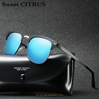 Sweet CITRUS 2018 Polarized Sunglasses Men Women Retro Rivet High Quality Brand Design Sun Glasses For