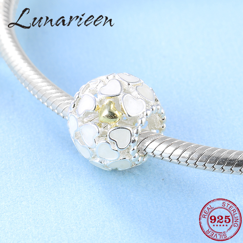 The New 925 Sterling Silver Delicate White Love Fashion DIY Round Beads Fit Original Pandora Charm Bracelet Jewelry Making