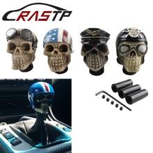 Universal Car Gear Shift Knobs Skull Head Resin Gear Manual Transmission Gear Shift Knob Shifter Lever RS-SFN044 personalized hat skull shape resin gear shift knob silver grey