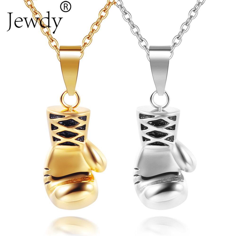 Ocean 3 Colors Men Mini Boxing Glove Necklace Pendant Gold Silver Black Cool Charms Fashion Sport Fitness Jewelry For Boys Gift