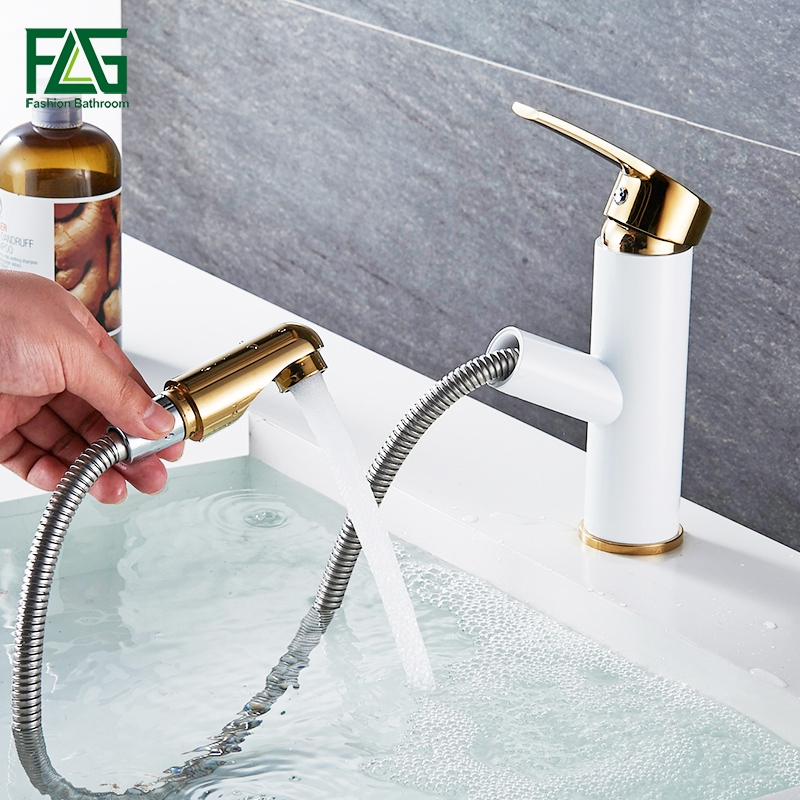 FLG High Quality Multi-color Bathroom Basin Faucet Deck Mounted White+Golden Cold and Hot Brass Vessel Sink Water Taps 508-11 two hole deck mounted hot and cold taps brass chrome surface sink basin faucet water tap for hotel bathroom