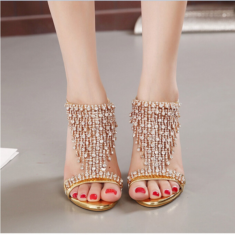 New Design Ladies Sexy Stilettos High Heels Women Shoes Pumps Faux Rhinestone Wedding Party Sandals Silver Gold 6