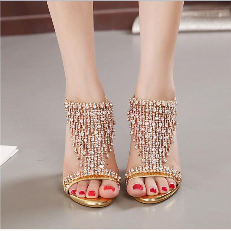 New Design Ladies Sexy Stilettos High Heels Women Shoes Pumps Faux Rhinestone Wedding Party Sandals Silver Gold 6