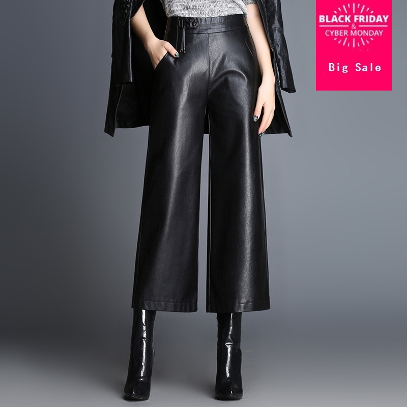 Fashion Brand Knit Stitching Ankle-Length Leather Pants 2019 Spring Women's High Package Hip Quality Slim Wide Leg Pants Wj1162