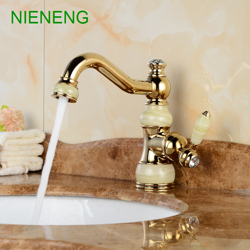NIENENG basin faucet retro bronze faucets bathroom bowlder sink faucet jade mixer tap home facility marble water taps ICD60216