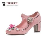 RIBETRINI 2020 Brand Kid Suede Chunky Heels Women Shoes Woman Fashion Black Pink Party Wedding Pumps Size 34 40