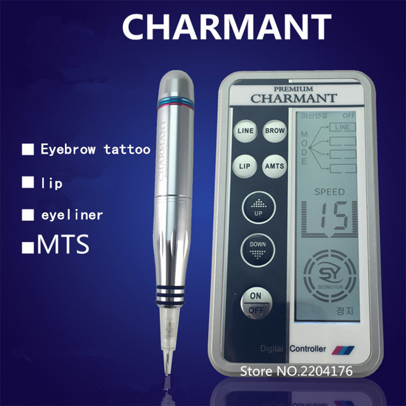 Free Shipping Professional Digital Permanent Makeup Machine Tattoo Eyebrow Lips Machine Kit With LCD Power Supply free shipping original taiwan tattoo machine mosaic permanent makeup tattoo machine kit for eyebrow lips