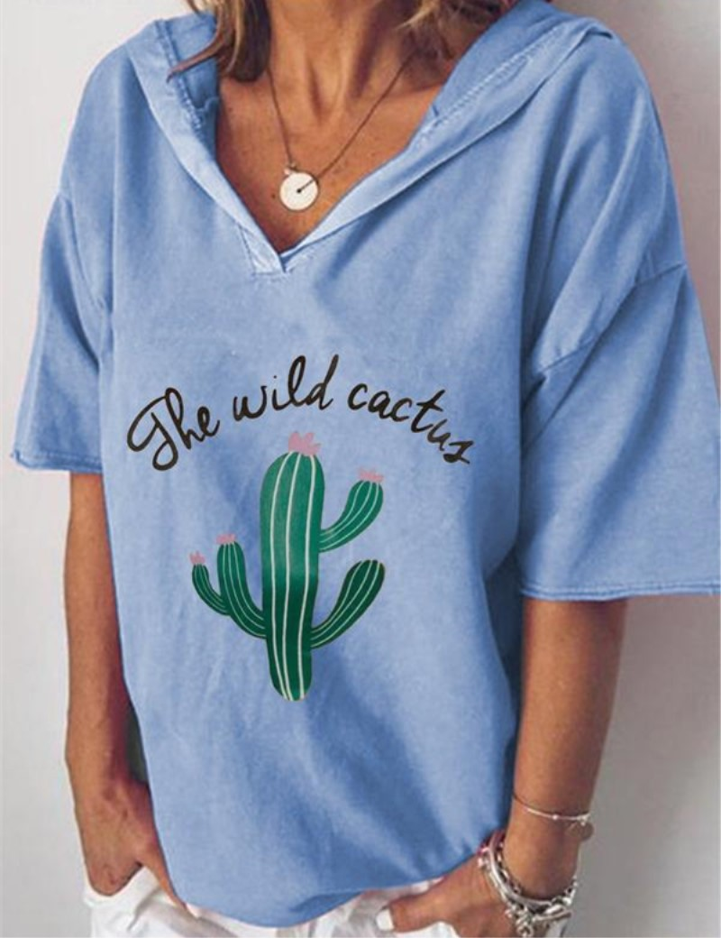 cactus print tshirt harajuku shirt women 90s tops pink aesthetic korean clothes graphic t funny print v neck christmas 2019 in T Shirts from Women 39 s Clothing