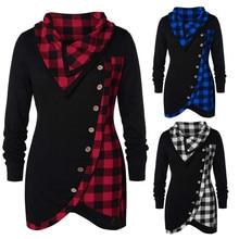 756fe81a31b Women s Cowl Neck Plaid Drawstring Skew Button Sweatshirt Tunic Tops Blouse  Plaid stitching button irregular top