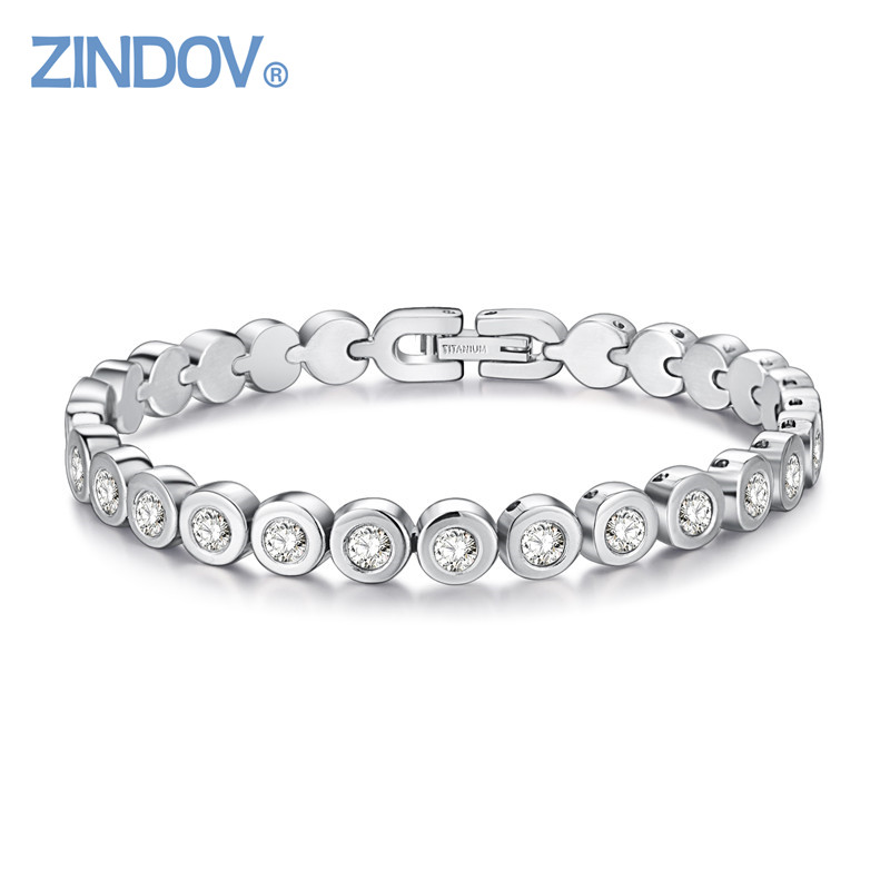 PVD Rose Gold Plated Overlay Cubic Zirconia Tennis Stainless Steel Bracelet Women Luxury 2016 Fashion Top