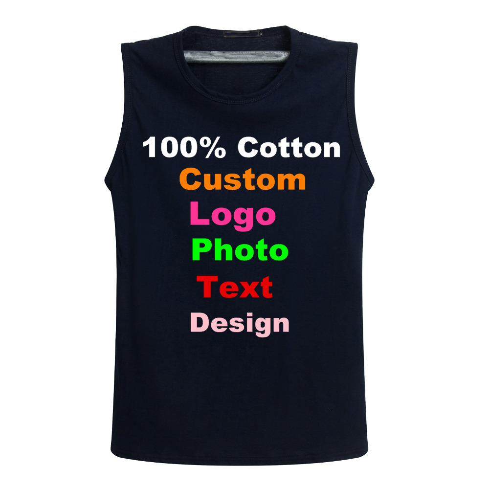 Custom Logo Photo Print Text Men Tanks Vest Cotton Sleeveless T