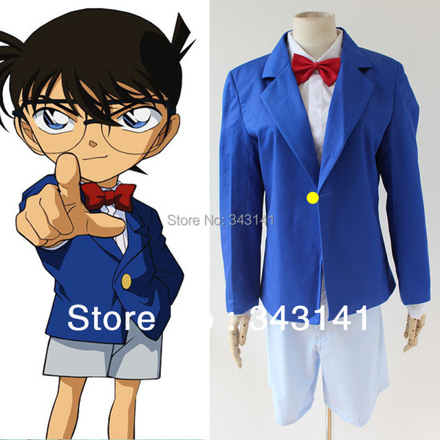 Free shipping Detective Conan costumes anime cosplay halloween costume  Shirt + tie + shirt + shorts