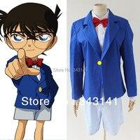 Miễn phí phí vận chuyển Detective Conan trang phục anime cosplay halloween costume Áo + tie + áo + quần short + kính khung