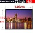 72 polegada 4:3 Bead cortina de tecido fosco com 2.8 ganho de tela de projeção parede montada Matt branco para todos os de baixa luminosidade projetores