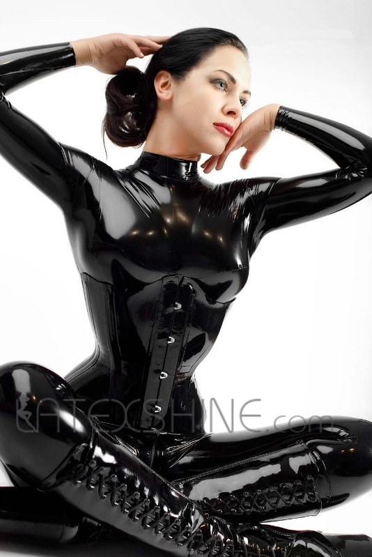 Black Latex Catsuit Women Full Bodysuit Leotard Latex -6190