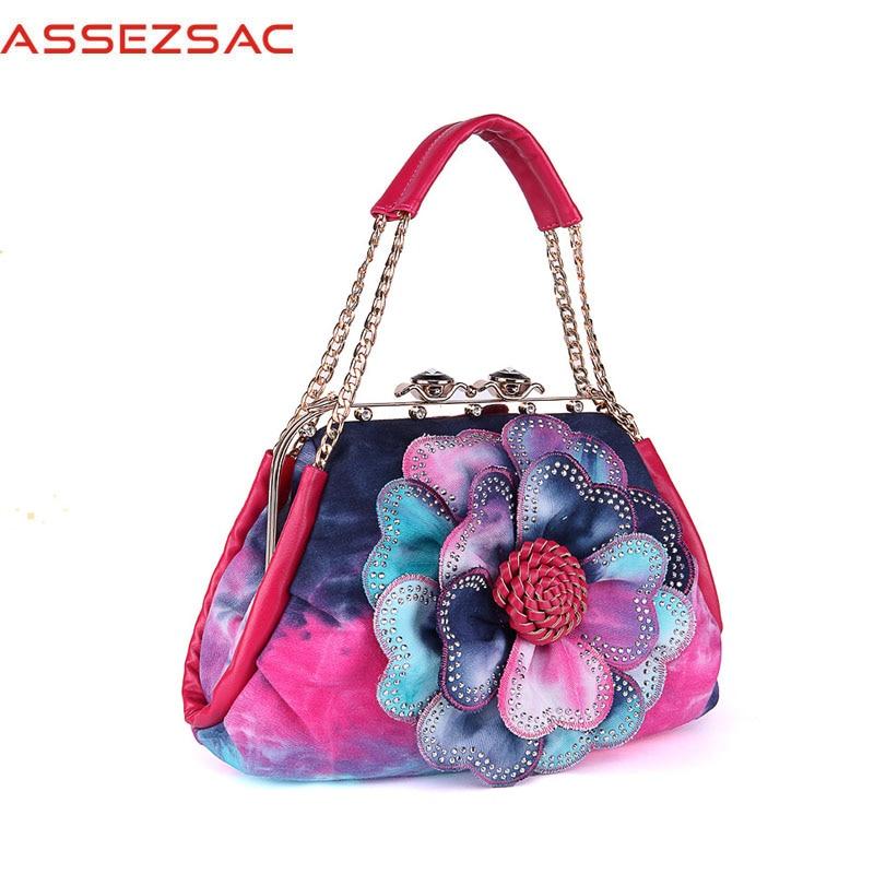 Assez Sac Cotton Fabric Handbag Girls Hasp Colorful Hobos Appliques Shoulder &Amp; Handbags A3949/J