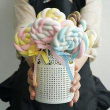 Lollipop artificial de imitación, Fondo de fotografía de algodón de imitación de caramelo, tarta falsa, tienda, ventana