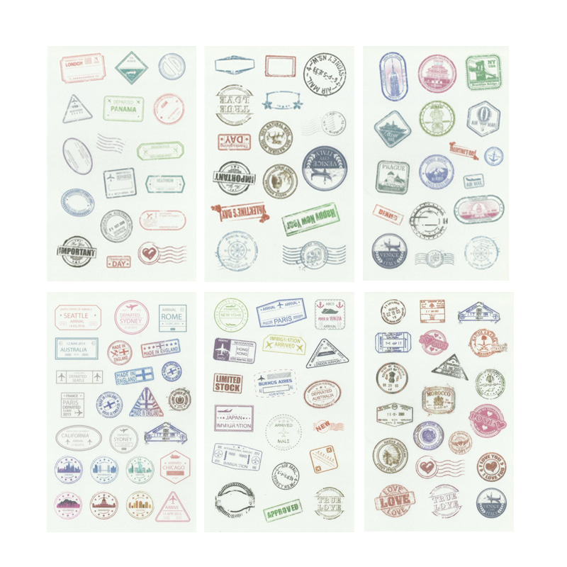 6 Sheets Retro Postmark Decorative Washi Stickers Scrapbooking Stick Label Diary Stationery Album Stickers