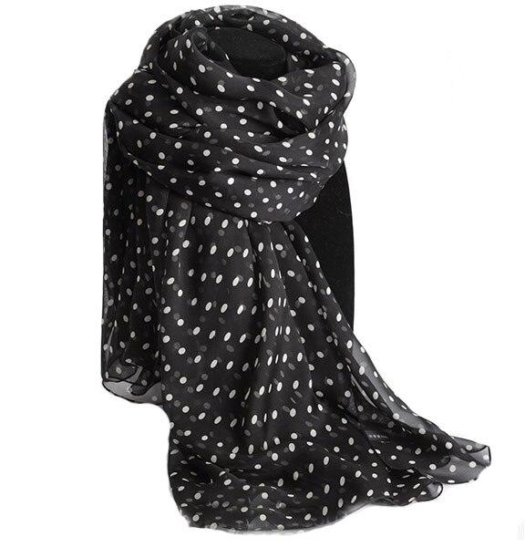 a04d4947a Winter Scarf Women Luxury Brand Designer Black White Dot 100% Silk Headband  Muslim Arabic Hijab