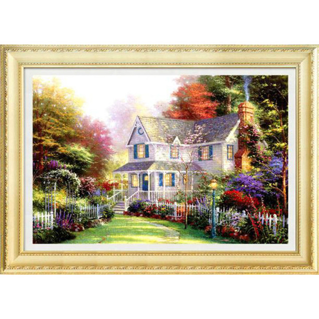 Diy diamond painting scenery 70x50CM Dream cottage 5D magic cube ...
