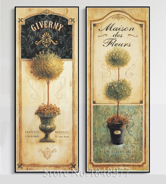 2 Pieces Still life Potted Canvas Paintings Wall Art Vintage Simple ...