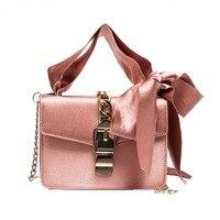 Bow Women S Shoulder Bag Silk Stripes Ribbon Bow Crossbody Bag PU Leather Shoulder Bag Metal