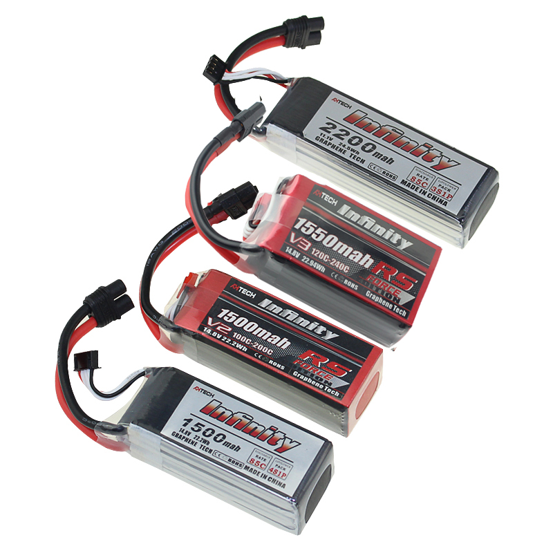 Infinito LiPo Battey 4S 6 3 2 1S S S S 450mah 550 850 1150 1300 1500 1550 mAh 2200mah 85C RS V2 XT30 SY60 XT60 Plug JST Para RC Zangão