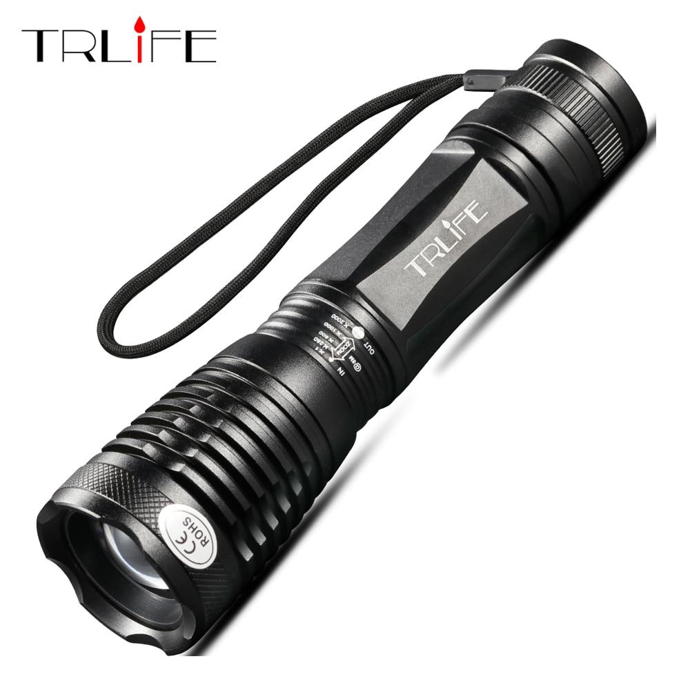 10000 Lumen T6 18650 3 Modes ZOOM LED Flashlight MINI Police Torch Black GA