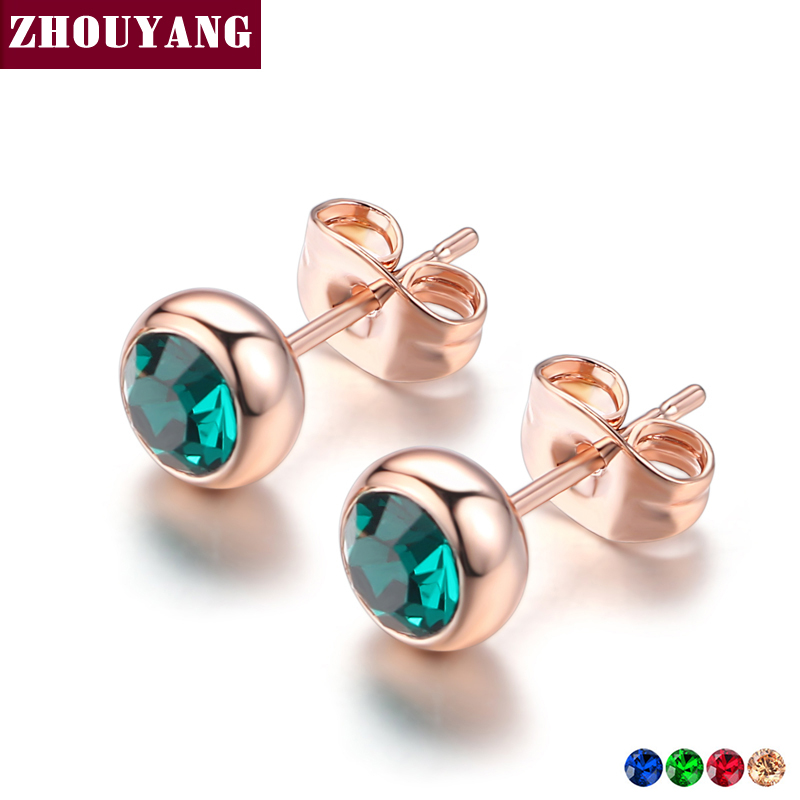 Simple Green Crystal OL Style Rose Gold Color Stud Earrings Colorful Gift For Women and Men - Earrings For Men