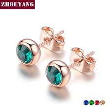 Simple Green Crystal OL Style Rose Gold Color Stud Earrings