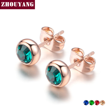 Simple Green Crystal OL Style Rose Gold Color Stud Earrings Colorful Gift For Women and Men.jpg 350x350 - Simple Green Crystal OL Style Rose Gold Color Stud Earrings Colorful Gift For Women and Men Top Quality ZYE633