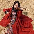 Бесплатная доставка 2016 новый урожай оригинальный дизайн женской национальной весна и осень верхняя одежда длинные широкий платья повязки