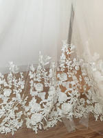 1 yard 3D flower rosette lace fabric in ivory, soft tulle vivid embroidery lace fabric for haute couture costumes