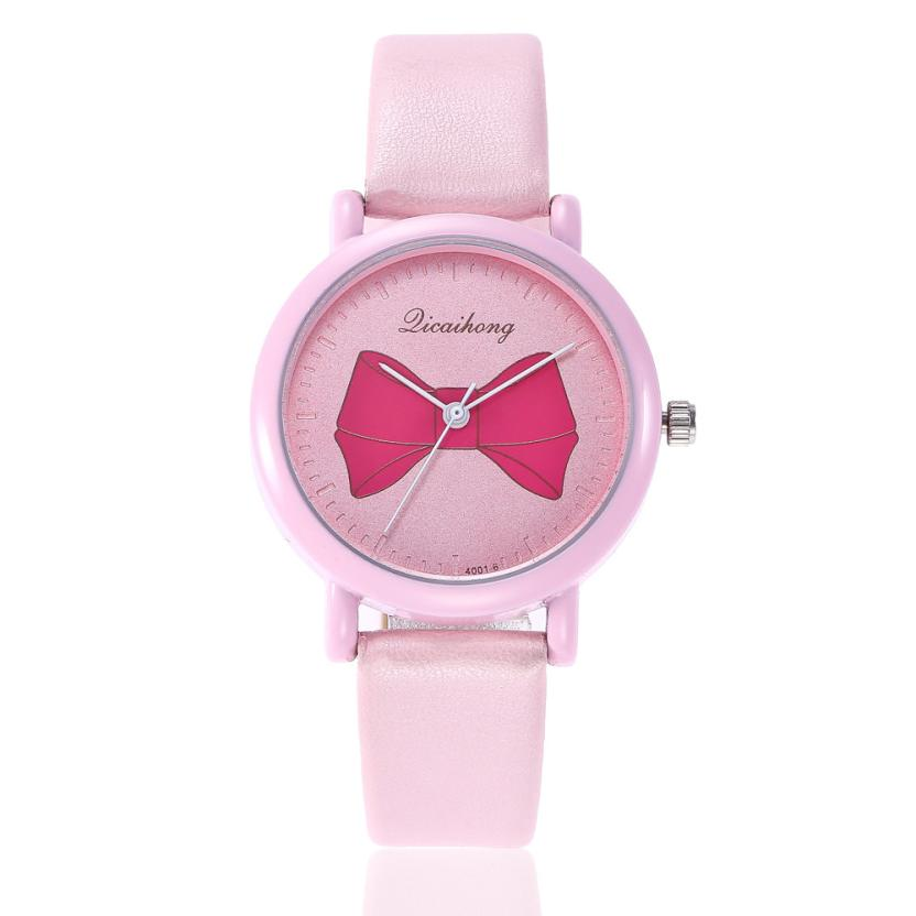 Simple Korea Students Girls Watches Bow Pattern Fashion Leather Band Analog Quartz Round Women Cute Kawaii Wrist Watch Gifts analog watch