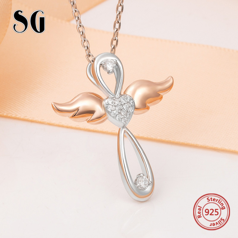 925 sterling silver angel cross pendant chain necklace with CZ&rose gold color wing diy fashion jewelry making for women gifts