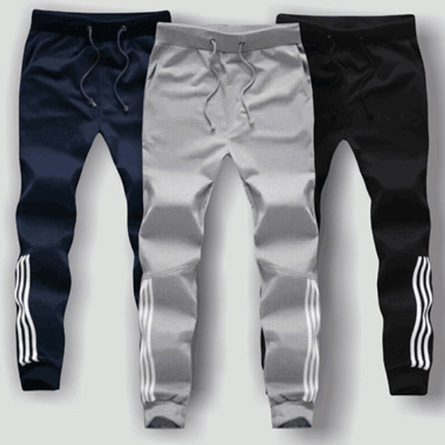 2017 Mens Casual Pencil Pants Plus Size 5XL Workout Sporting Trousers 100% Cotton Spliced Striped Men Jogger exercise Sweatpants