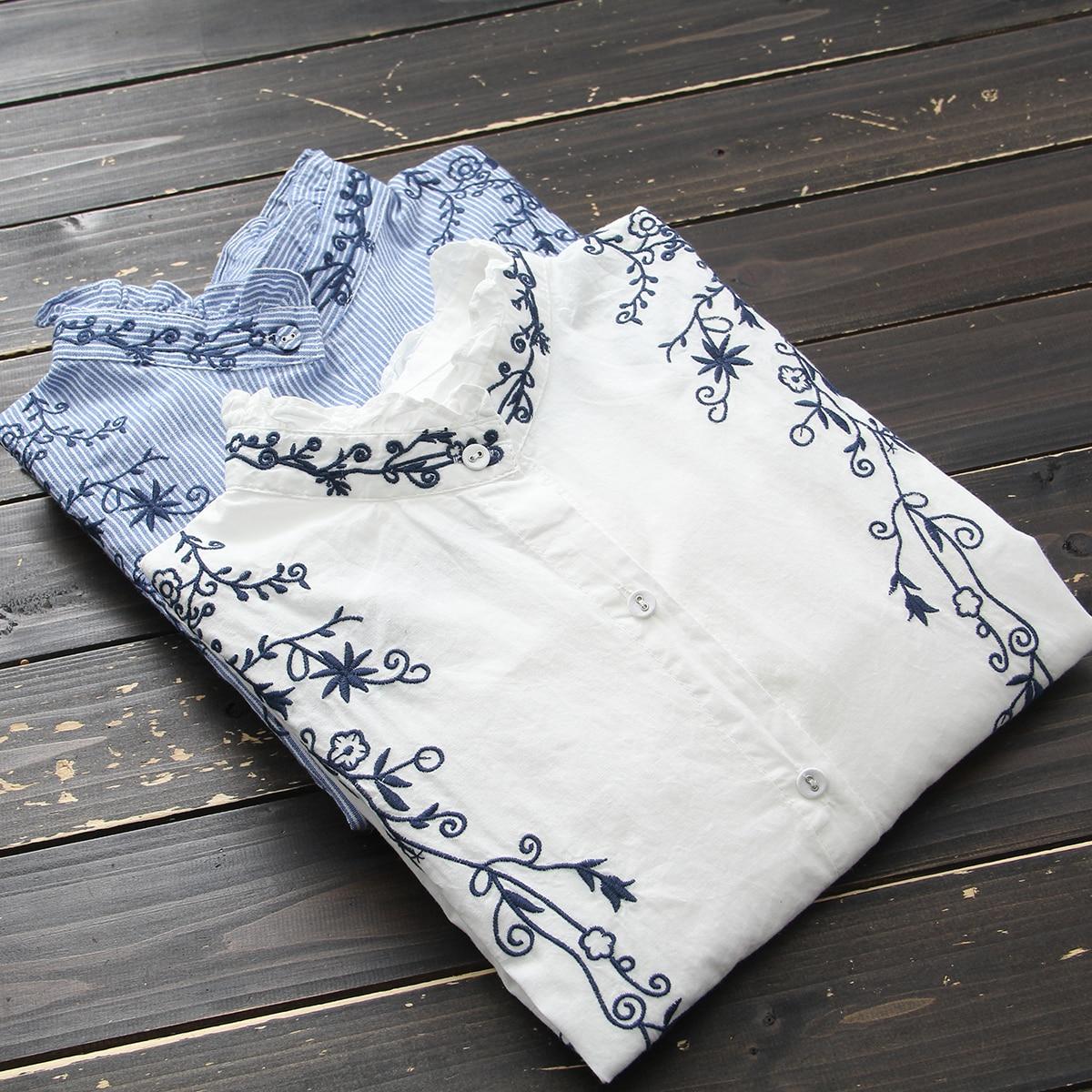 Rétro De Manches Chemises Floral Stand Coton À white Lâche Femmes Longues Toile Tops Occasionnel Col Blusas Chemisier 2019 Vintage Broderie Blue wx1BO1Yq