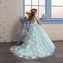 Ball-Gown Dresses Lace Flower-Girl Long-Sleeves Holy Back-Button O-Neck Vestido-De-Daminha