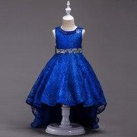 Kinderen Gown Ontwerpen 3 Parelsnoer Koningsblauw Bloem Ball Pageant Jurk voor Meisjes Glitz Kids Lange Trouwjurken