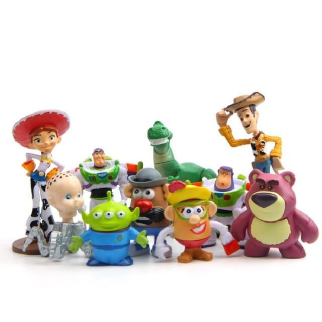 10 unids lote 3 8 cm Toy Story 3 Woody Buzz Lightyear Jesse PVC Action 6153f610821